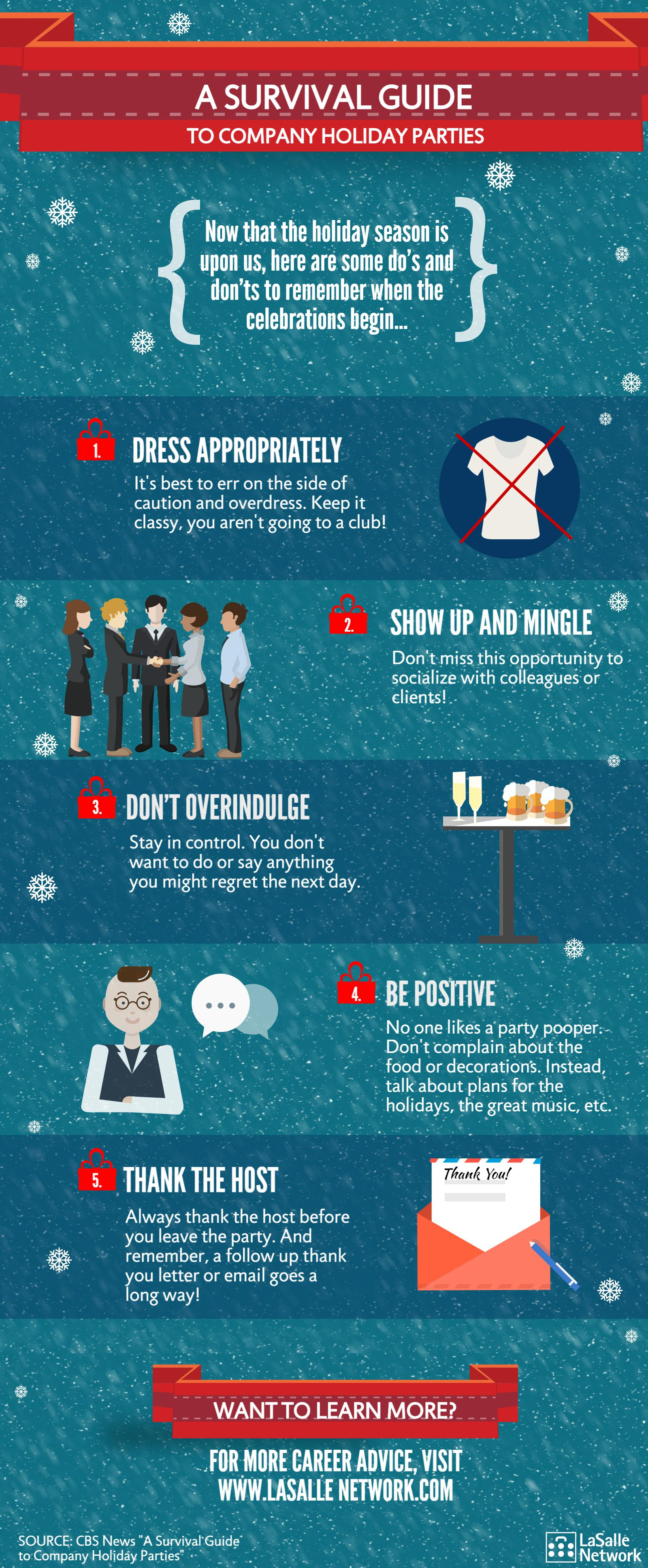 holiday party do's and don'ts infographic